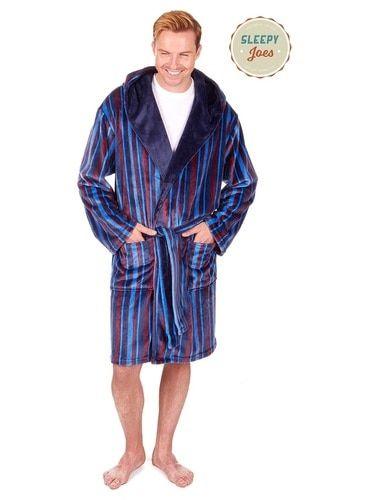 Mens Bold Multi Stripe Pattern Thick Fleece Collared Dressing Gown//Bath Robe