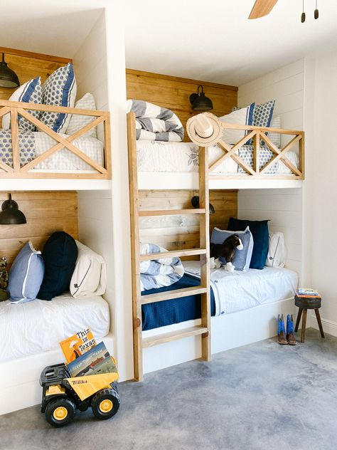 I am so excited to share the grandkids' bunk room at the ranch house. This room turned out to be one of my favorite rooms with the built-in bunk beds to sleep all six grandchildren. Bunk Beds For Girls Room, Beds For Small Rooms, Bunk Bed Rooms, Loft Bunk Beds, Bunk Beds Built In, Bunk Bed Plans, Bunk Beds With Stairs, Girls Bedroom, Small Spaces