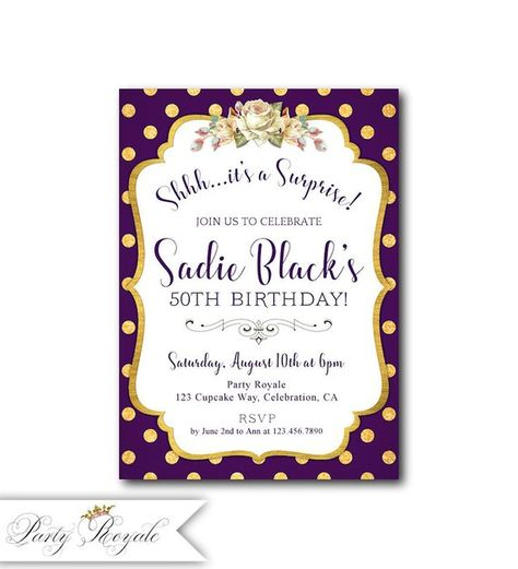 Womens Surprise Party Invitations Birthday For Her Purple And