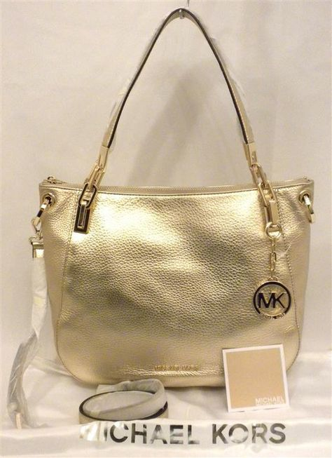 3b50c5bb28de Michael Kors Pale Gold Leather Large Brooke Convertible Shoulder Tote NWT  #MICHAELMichaelKors #TotesShoppers
