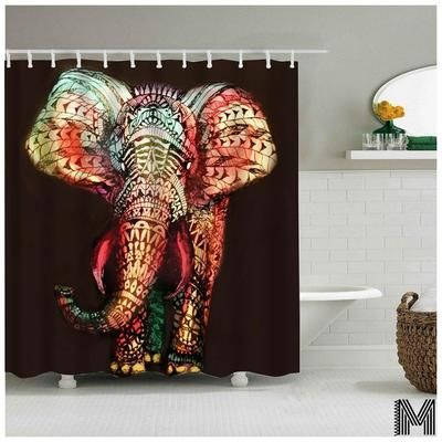 Colorful Elephant Shower Curtain In 2020 Elephant Shower