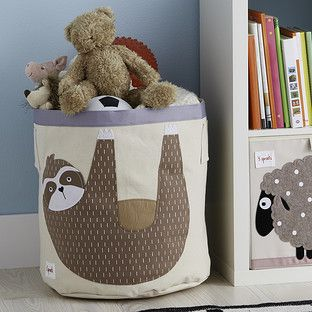 3 Sprouts Sloth Canvas Toy Storage Bin In 2020 Canvas Toy Storage Toy Storage Bins Toy Storage