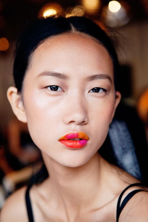 ombré lips / watercolor pout at Creatures of Comfort by makeup artist Dani Fonseca / NYFW13