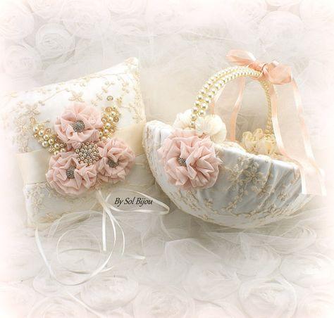 Ring Bearer Pillow Blush Ivory Lace