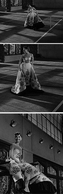 "Audrey Hepburn in ""Sabrina"" I love this dress & I love this scene in Sabrina!!"