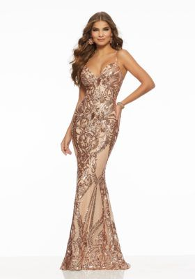 Womens Embroidered Lace Sequins Mermaid Formal Gown with Sheer Sleeves and Back