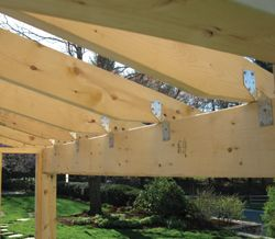 The 2x6 Rafters Were Installed And Additionally Supported With Rafter Clips Or Hurricane Ties Building A Wood Shed Backyard Sheds Building A Shed