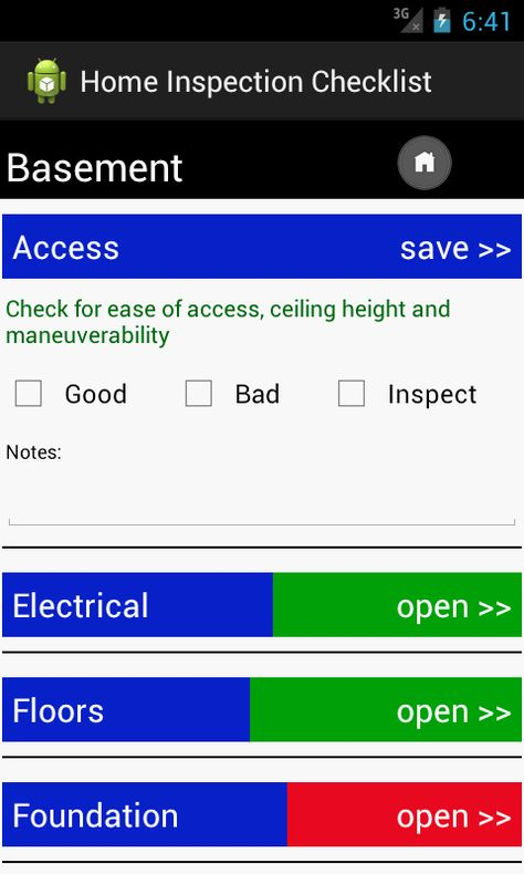 Home Inspection Checklist Reports Template ANdroid APp Food - home inspection checklist