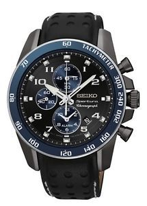 NEW SEIKO SPORTURA SNAF37 Chronograph Ionied Stainless Steel Black Leather Watch