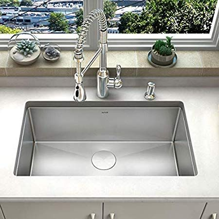 Zuhne Modena 32 X 19 Inch Single Bowl Under Mount 16 Gauge Stainless S Best Kitchen Sinks Apron Front Stainless Steel Kitchen Sink Stainless Steel Kitchen Sink