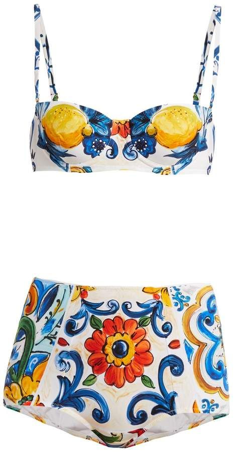 91fff28122ba3 DOLCE   GABBANA Majolica-print balconette bikini  shopthelook  shopnow   designeritem  womenfashion