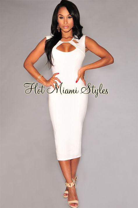 215ea545c9 Off-White Floral Textured Sleeveless Midi Dress Womens clothing clothes hot  miami styles hotmiamistyles hotmiamistyles.com sexy club wear ev…