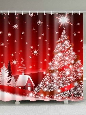 Christmas Tree Polyester Waterproof Bath Curtain Christmas
