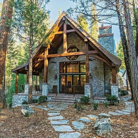 Stone House Plans, Small House Plans, Mission Style Homes, Countryside Style, English Countryside, Log Home Living, Cabin In The Woods, Tiny House Nation, A Frame Cabin