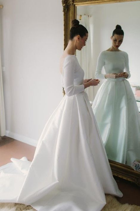 Bateau Satin Long Sleeves Wedding Dresses With Box Pleats In 2020 Wedding Dresses Satin Wedding Dress Sleeves Wedding Dress Long Sleeve