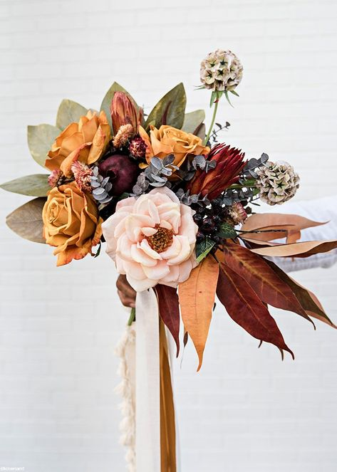 Pack of 6 – Dried Flower Protea Repens in Red Orange - Modern Fall Bouquets, Fall Wedding Bouquets, Fall Wedding Flowers, Fall Wedding Colors, Bridal Flowers, Fall Flowers, Dried Flowers, Floral Wedding, Flower Bouquets