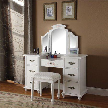 Acme Torian Vanity Desk Stool White Walmart Com In 2020 Bedroom Vanity Set Bedroom Vanity White Vanity Table