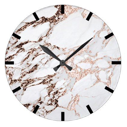 Rose Copper Gold Carrara Marble Black White Stone Large Clock - stones diy cyo gift idea special