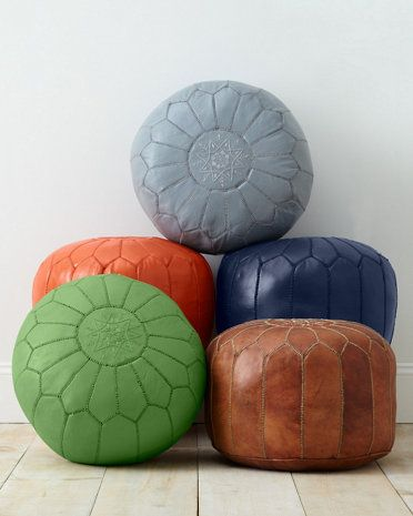 moroccan leather pouf - foot rest for rocking chair | oh baby