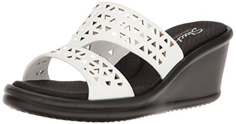 Details about Skechers Womens Cali Rumblers Hope Float Wedge Sandal Memory Foam White NEW 7 10