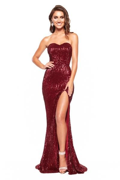 03f52fe22f4 A N Katya - Burgundy Strapless Sequin Gown with Side Slit – A N Luxe Label