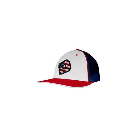 f48c2987 DeMarini D Logo USA Baseball/Softball Trucker Hat - White/Red/Navy  (White/Red/Blue) - L/XL