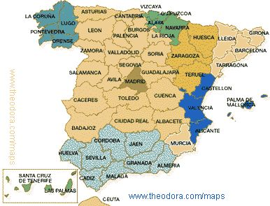 Spain Map Of Spain Map For Planning Your Holiday In Spain Spain - Spain regions map