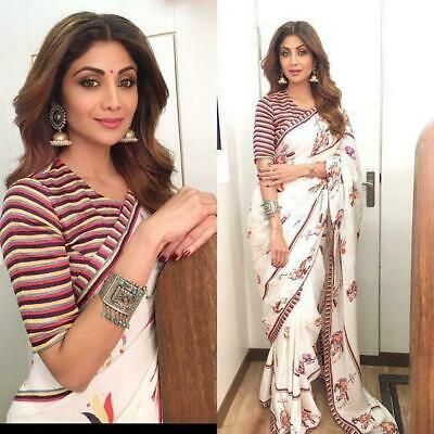 Pakistani Indian Beautiful Saree Sari Blouse Traditional Bollywood Apparel Sale Fashion Clothing Shoes Accessories Saree Look Saree Designs Stylish Sarees She is every designer's dream model for her effortless style in carrying a saree. pakistani indian beautiful saree sari