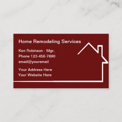 Home Remodeling Modern Business Cards Zazzle Com In 2020 Modern Business Cards Remodeling Business Home Remodeling