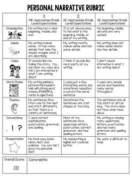 Student Friendly Writing Rubric 6 Traits Writing Personal Narrative Rubric Writing Rubric Personal Narrative Rubric Narrative Rubric