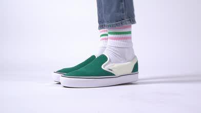 womens dark green vans comfycush slip on trainers   schuh