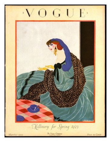 Vogue Cover - March 1923    Illustration of woman in hat with purple plume, leopard skin wrap putting on gloves.