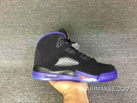 e843832c6ece1d Women Men Super Deals Air Jordan 5 Retro Raptors Black Ember Glow-Fierce  Purple
