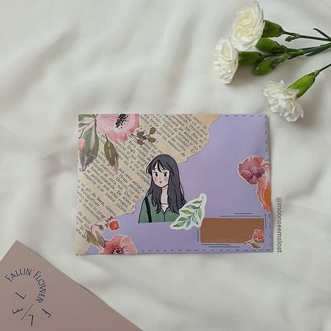 Image uploaded by moonseemslost. Find images and videos about cute, aesthetic and flowers on We Heart It - the app to get lost in what you love. Aesthetic Letters, Journal Aesthetic, Bullet Journal Art, Bullet Journal Ideas Pages, Mail Art Envelopes, Cute Envelopes, Snail Mail Pen Pals, Diy And Crafts, Paper Crafts
