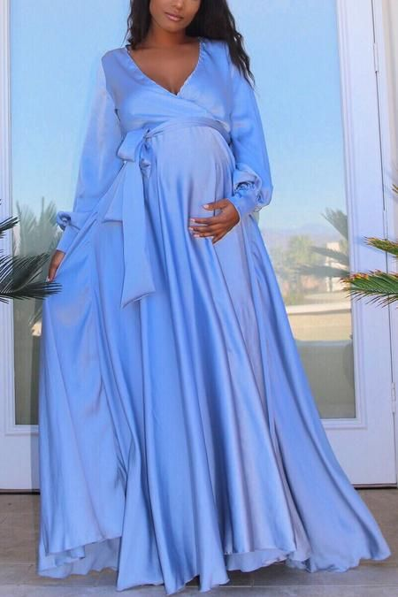 Luxury Maternity Jumpsuit Blue Baby Shower Dress Pregnant Guest Chic Bump Club Pink Maternity Gown Dresses Baby Shower Dresses