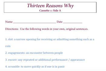 Thirteen Reasons Why Vocabulary Cassette 1 Side A Thirteen