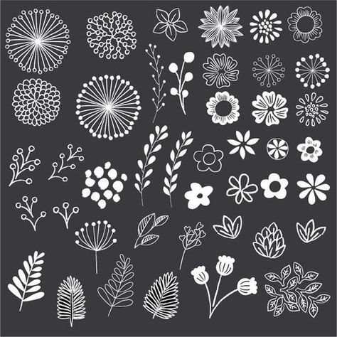 This chalkboard style floral set includes 43 hand drawn elements! Use these beautiful elements to easily create unique stationery, decorations, labels, and more! All elements are high quality files files, suitable for print or digital projects. Chalkboard Doodles, Chalkboard Fonts, Chalkboard Designs, Chalkboard Clipart, Chalkboard Ideas, Chalkboard Drawings, Chalkboard Lettering Alphabet, Summer Chalkboard Art, Chalkboard Wall Art