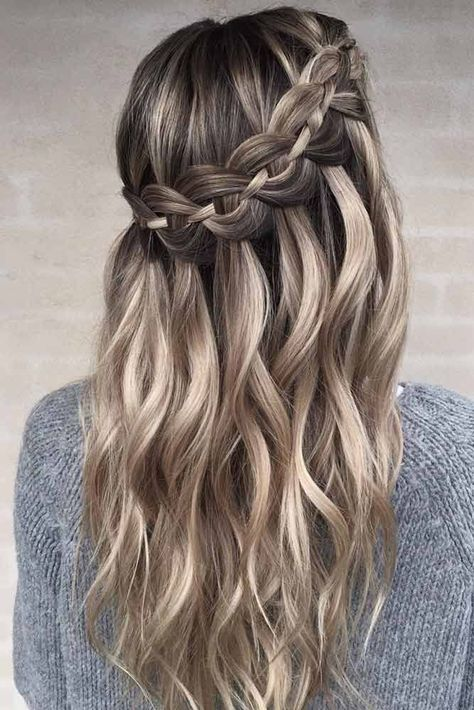 Waterfall Braid Hairstyle #waterfallhair ★ Check out our list of the best easy braided hairstyles! ★ #braids #braidedhair #easyhairstyle #easybraidhair #hairstyle #glaminati