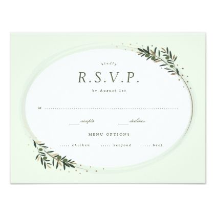 Rsvp Olive Sprigs Green Card Wedding Invitations Cards Custom