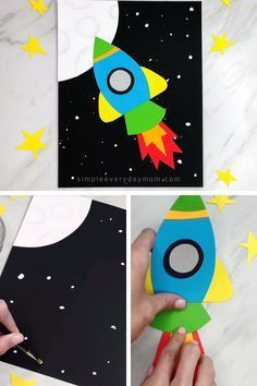 This simple rocket craft for kids is a fun art and craft activity for young children. It's perfect for kindergarten and elementary students and it comes with a free printable template.  #simpleeverydaymom #kidscrafts #craftsforkids   Informations About Simple & Fun Rocket Craft For Kids Pin  You can easily use my profile to examine different pin types. Simple & Fun Rocket Craft For Kids pins are as aesthetic ... #coloring projects for kids Free Printable #coloring projects for kids Learning