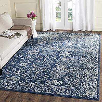 Amazon Com Safavieh Evoke Collection Evk270a Vintage Navy And Ivory Area Rug 8 X 10 Kitchen Dining Distressed Rugs Home Traditional Area Rugs