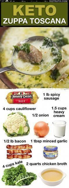 Low Carb Zuppa Toscana (7 Easy Keto Soup Recipes) By simply replacing the potatoes with cauliflower, this soup is naturally low carb. The bacon really kicks it up a notch! 500 calories, 7 net carbs, 37g fat, 28g protein - Looking for healthy keto and low carb soup recipes? This Zuppa Toscana is made with cauliflower instead of potatoes, and packed full of flavor! (6 additional keto soup recipes here, too!) #soup #keto #lowcarb #instrupix #KetoRecipes