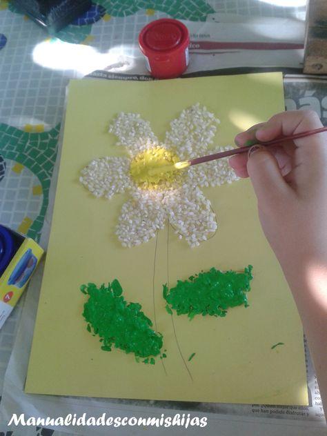 Dibujos Con Arroz Pintado Flor Y Estrella Manualidades Manualidades Infantiles Flores Pintadas