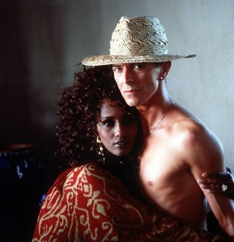 David Bowie & Iman, at their home on the island of Mustique.