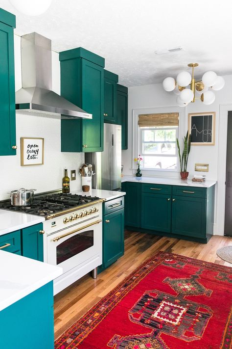 epic bold green kitchen cabinets  The Glamazon Home Tour | Summer 2019 | Boho Modern Eclectic Glam | Home Design | House Inspiration | Jessica Brigham | Magazine Ready for Life #kitchen #kitchendesign