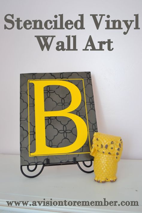 Stenciled Wall Art with Vinyl Letter: A Vision to Remember All Things Handmade Blog #stencil #wallart #mustardyellow #monogram #stencil