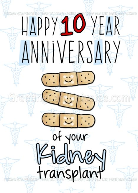 Cute Bandages Happy 10 Year Anniversary Kidney Transplant Card