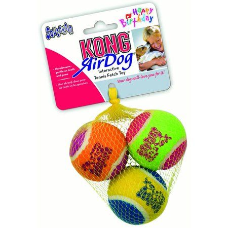 Kong Airdog Squeaker Birthday Balls Dog Toy Multicolored Medium