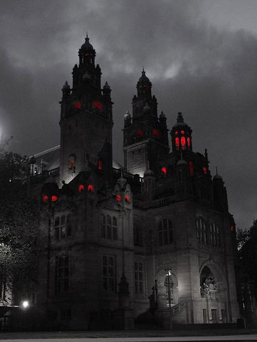 Glasgow Art Gallery,done in selective colouring as it reminds me of the old hammer horror films. Gothic Castle, Dark Castle, Fantasy Castle, Gothic House, Dark Gothic, Gothic Art, Victorian Gothic, Glasgow Art Gallery, Gallery Gallery