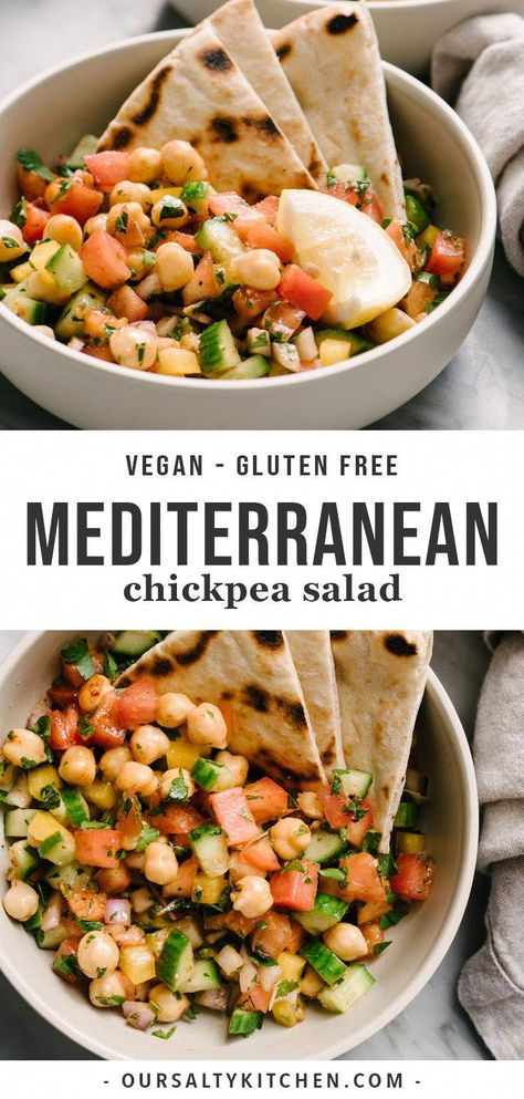 Recipes Dinner This quick and easy Medi. Recipes Dinner This quick and easy Mediterranean Chickpea Salad has it all - punchy flavor, bright colors, loads of healthy nutrients, and enough fiber and protein to keep Easy Salads, Easy Meals, Easy Summer Meals, Mediterranean Chickpea Salad, Mediterranean Recipes, Gluten Free Recipes For Dinner, Easy Fast Recipes, Simple Easy Dinner Recipes, Simple Healthy Dinner Recipes